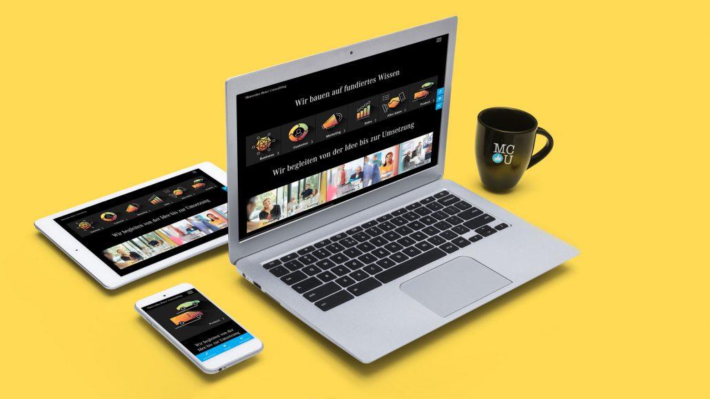 Die neue Webseite von Mercedes-Benz-Consulting auf Laptop, Tablet und Handy – responsive Design