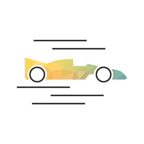 Drive: Rennauto Icon aus dem Icon-Set, das wir für den neuen Markenauftritt entwickelt haben.