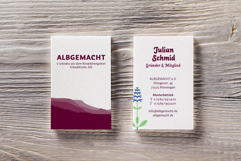 Visitenkarten von Albgemacht: ganzheitlicher Markenauftritt