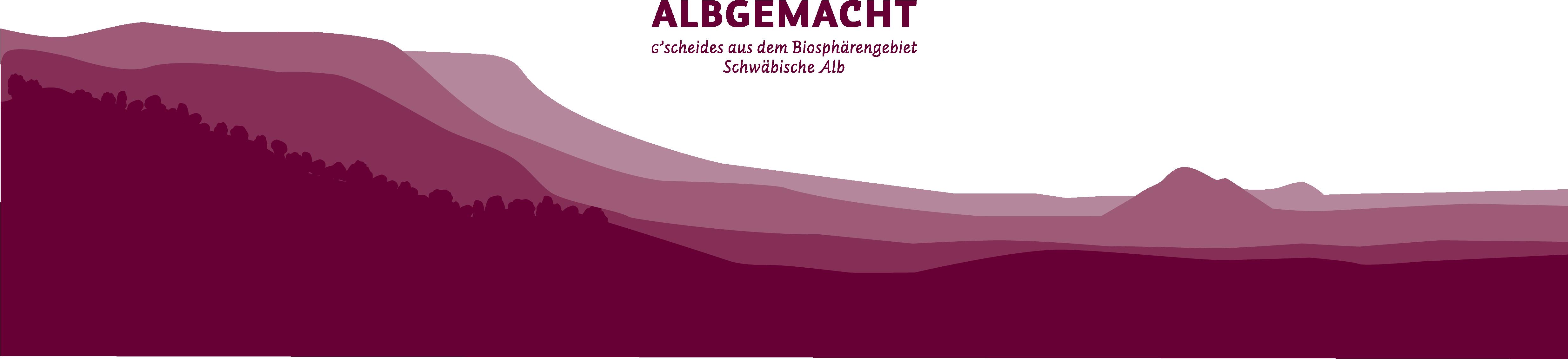Logo Albgemacht über Albtraufhintergrund: G'scheides aus dem Biosphörengebiet Schwäbische Alb